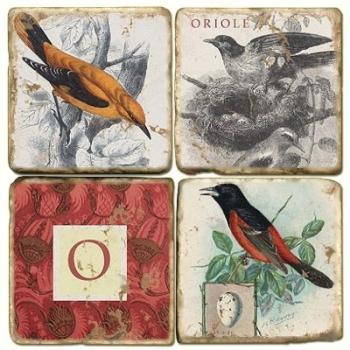 Marble Coasters, set of 4, illustration theme with Monogram O, antique finish, cork backed, l 10 x w 10 x h 1 cm