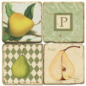 Marble Coasters, set of 4, illustration theme with Monogram P, antique finish, cork backed, l 10 x w 10 x h 1 cm