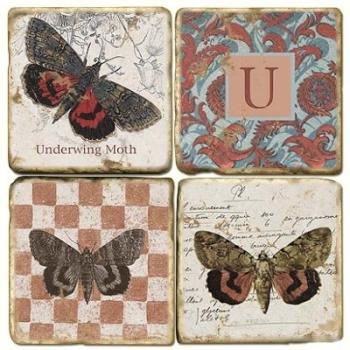 Marmor Untersetzer 4er Set, Motivserie mit Monogramm U, Antikfinish, Kork-Rückseite, Maße: L 10 x B 10 x H 1 cm