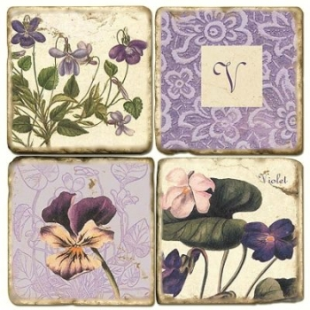 Marble Coasters, set of 4, illustration theme with Monogram V, antique finish, cork backed, l 10 x w 10 x h 1 cm