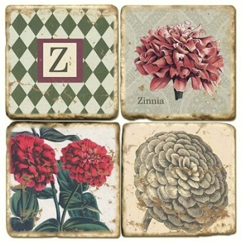 Marble Coasters, set of 4, illustration theme with Monogram Z, antique finish, cork backed, l 10 x w 10 x h 1 cm