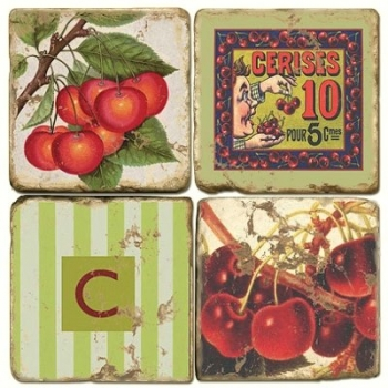 Marble Coasters, set of 4, illustration theme with Monogram C, antique finish, cork backed, l 10 x w 10 x h 1 cm