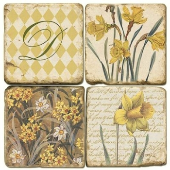 Marble Coasters, set of 4, illustration theme with Monogram D, antique finish, cork backed, l 10 x w 10 x h 1 cm