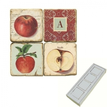 Aimants en marbre, coffret de 4, motif initiale A, finition antique, L 5 x l 5 x h 1 cm