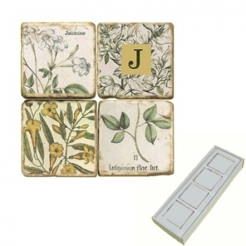 Aimants en marbre, coffret de 4, motif initiale J, finition antique, L 5 x l 5 x h 1 cm