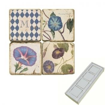 Memomagnete Set mit Monogramm M, Marmor, Antikfinish, 4 er Set in Box, Maße: L 5 x B 5 x H 1 cm