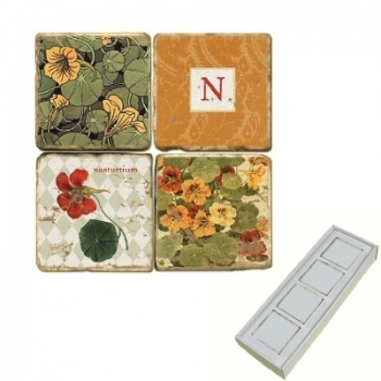 Aimants en marbre, coffret de 4, motif initiale N, finition antique, L 5 x l 5 x h 1 cm