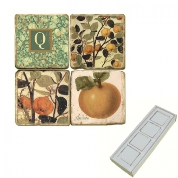 Marble Memo Magnets, set of 4, illustration theme with Monogram Q, antique finish, l 5 x w 5 x h 1 cm