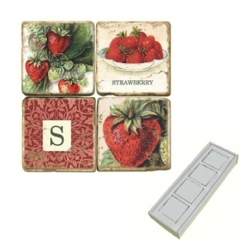 Marble Memo Magnets, set of 4, illustration theme with Monogram S, antique finish, l 5 x w 5 x h 1 cm