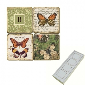 Marble Memo Magnets, set of 4, illustration theme with Monogram B, antique finish, l 5 x w 5 x h 1 cm