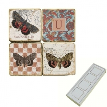 Aimants en marbre, coffret de 4, motif initiale U, finition antique, L 5 x l 5 x h 1 cm