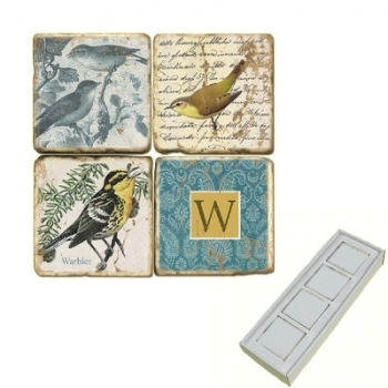 Marble Memo Magnets, set of 4, illustration theme with Monogram W, antique finish, l 5 x w 5 x h 1 cm