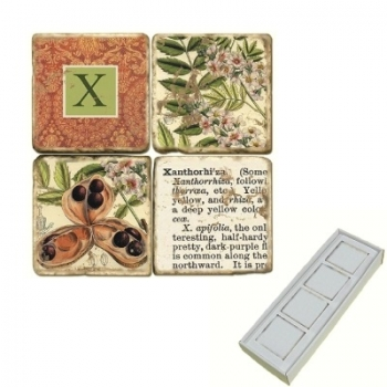 Aimants en marbre, coffret de 4, motif initiale X, finition antique, L 5 x l 5 x h 1 cm
