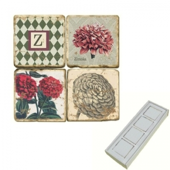 Marble Memo Magnets, set of 4, illustration theme with Monogram Z, antique finish, l 5 x w 5 x h 1 cm