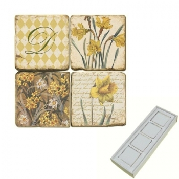 Aimants en marbre, coffret de 4, motif initiale D, finition antique, L 5 x l 5 x h 1 cm