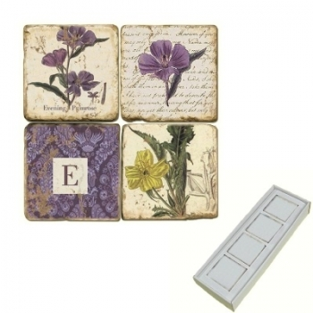 Aimants en marbre, coffret de 4, motif initiale E, finition antique, L 5 x l 5 x h 1 cm