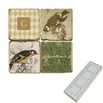 Memomagnete Set mit Monogramm G, Marmor, Antikfinish, 4 er Set in Box, Maße: L 5 x B 5 x H 1 cm