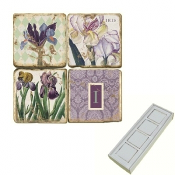 Aimants en marbre, coffret de 4, motif initiale I, finition antique, L 5 x l 5 x h 1 cm