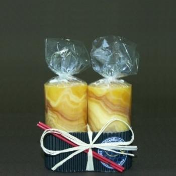 Bougies cylindriques en cire d'abeille, couleur ambre, marbrées, lot de 2 bougies, dimensions: h 8 x d 4 cm