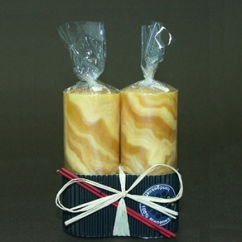 Beeswax Pillar Candle Duo, gift wrapped, amber marbled, Dimensions: h 10 x Ø 4 cm