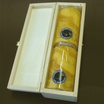 Beeswax Pillar Candles in Box, amber marbled, 2 pieces per Box, Dimensions: h 10 x Ø 6 cm