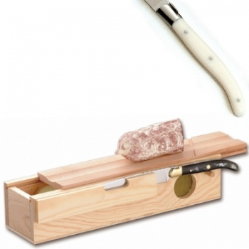 Laguiole salami box with knife, l 32 cm,box l 32.5 x w 7.5 x h 10 cm, polished stainless steel bolsters, ivory coloured