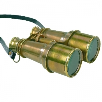 Binoculars, antique brass, with strap, magnification x 4, Dimensions: l 16 x w 12 x h 5.5 cm