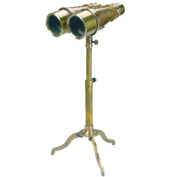 Binoculars with Stand, antique brass, magnification x 4, Dimensions: l 16 x w 12 x h 5.5 cm, stand height 15/30 cm