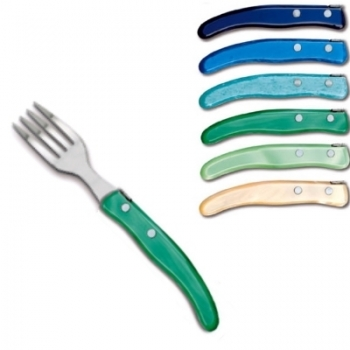 Laguiole Berlingot pastry forks Bleu-Vert, set of 6 in box, acrylic handles, colors: Azur, Bleu, Violet, Rose, Layette, Naturel, Dimensions: l 17.5 cm.