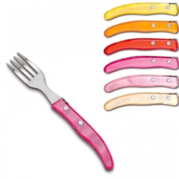 Laguiole Berlingot pastry forks Rose-Orange, set of 6 in box, acrylic handles, colors: Jaune, Orange, Rouge, Rose, Layette, Naturel, Dimensions: l 17.5 cm