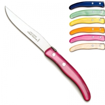 Laguiole Berlingot steak knives Arc-en-Ciel, set of 6 in box, acrylic handles, colors: Bleu, Vert pâle, Jaune, Orange, Rose, Naturel, Dimensions: l 23 cm