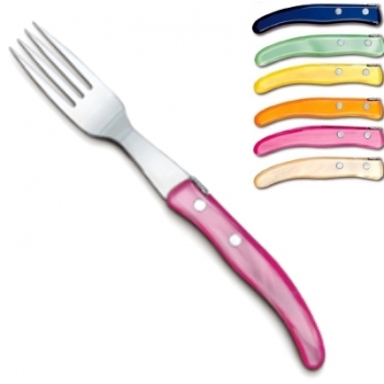 Laguiole Berlingot table forks Arc-en-Ciel, set of 6 in box, acrylic handles, colors: Bleu, Vert pâle, Jaune, Orange, Rose, Naturel, Dimensions: l 23 cm
