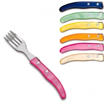 Laguiole Berlingot pastry forks Arc-en-Ciel, set of 6 in box, acrylic handles, colors: Bleu, Vert pâle, Jaune, Orange, Rose, Naturel, Dimensions: l 17.5 cm