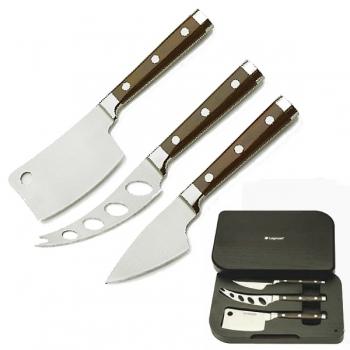 Cheese Knife Set Latte Vivo Wenge, trad., hard cheese, soft cheese knife, fully forged, Wenge handles, gift box, Dimensions: l 25 x w 17 x h 3.5 cm