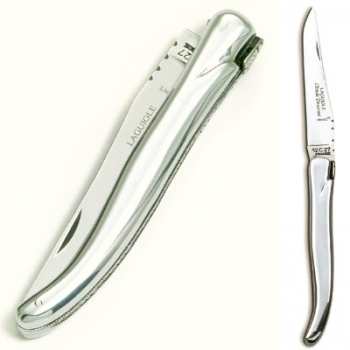 Laguiole pocket knife, modern, Aluminium handle, polished, Dimensions: haft l 12 cm, blade: l 10 cm
