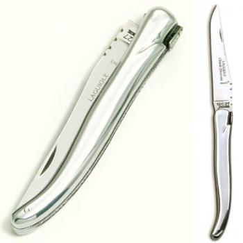 Laguiole Taschenmesser, modern, Griffschalen Aluminium poliert, Maße: Heft L 12 cm, Klinge 10 cm