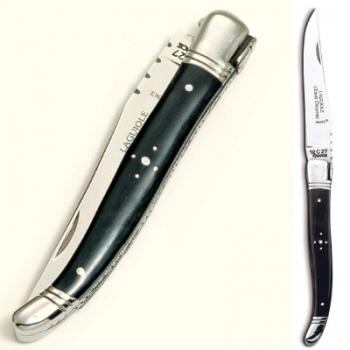Laguiole pocket knife, modern, Ebony, stainless steel handle, polished, Dimensions: haft l 12 cm, blade: l 10 cm