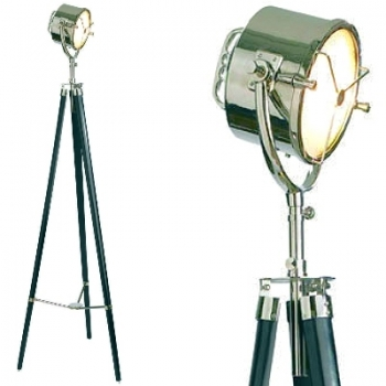 Tripod Lamp Searchlight, polished nickel, aluminium, glass, with ebony coloured wooden tripod, polished nickel fittings and compass, Dimensions: h 200 x Ø 67 cm