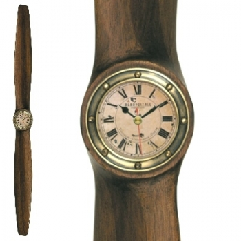 Wooden Propeller w. Clock, small, Kamtschatka Birch, mahogany stained, clock, antique brass, Dimensions: l 120 x w 10 x d 6 cm