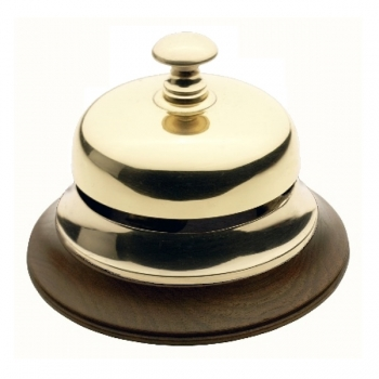 Receptionist' Bell, shiny polished brass, with walnut base, Dimensions: h 9.5 x Ø 13 cm