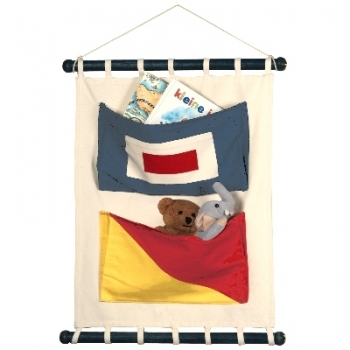 Wall Hanging Bag, 2 signal flag bags, W, O, Canvas, spreader bars and string, Dimensions: h 56 x w 44 cm.