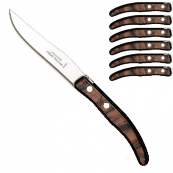 Laguiole Berlingot steak knives Marron, set of 6 in box, acrylic handles, color: Marron, Dimensions: l 23 cm