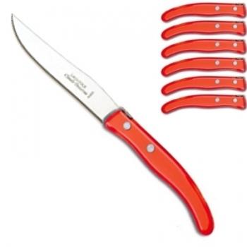 Laguiole Berlingot steak knives Rouge, set of 6 in box, acrylic handles, color: Rouge, Dimensions: l 23 cm