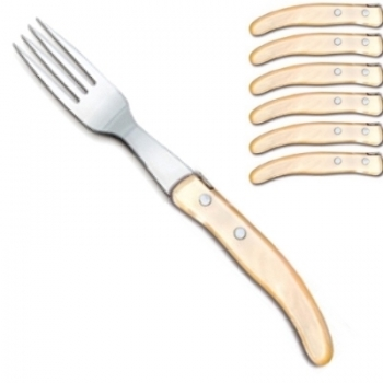 Laguiole Berlingot table forks Naturel, set of 6 in box, acrylic handles, color: Naturel, Dimensions: l 23 cm