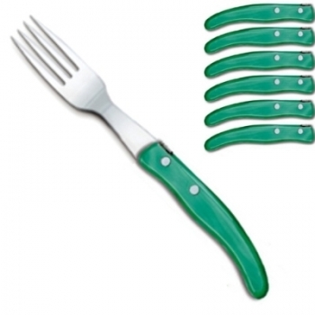 Ensemble de fourchettes de table Berlingot Laguiole en coffret, vert, lot de 6, manche en acrylique, dimensions: L 23 cm