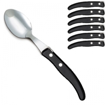 Laguiole Berlingot table spoons Noir, set of 6 in box, acrylic handles, color: Noir, Dimensions: l 23 cm.