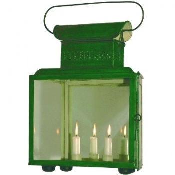 Positionslaterne Steuerbord, Einzelstück, Schmiedebl., Antikl., Grün, Spiegelr., 2 Kerzenh., Maße: H 53 x B 36 x T 15 cm