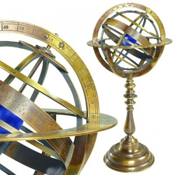 Armillary Sphere with massive bronze stand and spherical rings, dimensions: h 36 x d 18.5 cm