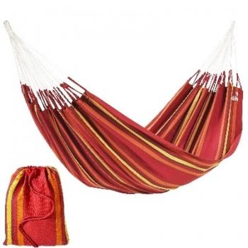 Hamac Cur-Ambera, rouge, 100% coton, poids max.120 kg, distance d'accroche 360 cm, tissu 220 x 140 cm