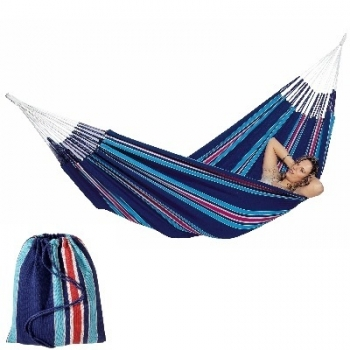 Hammock Cur-Ambera, blue, 100% Brazilian cotton, load capacity up to 120 kg, total length 360 cm, lying surface 220 x 140 cm. Delivery including bag of the same fabric